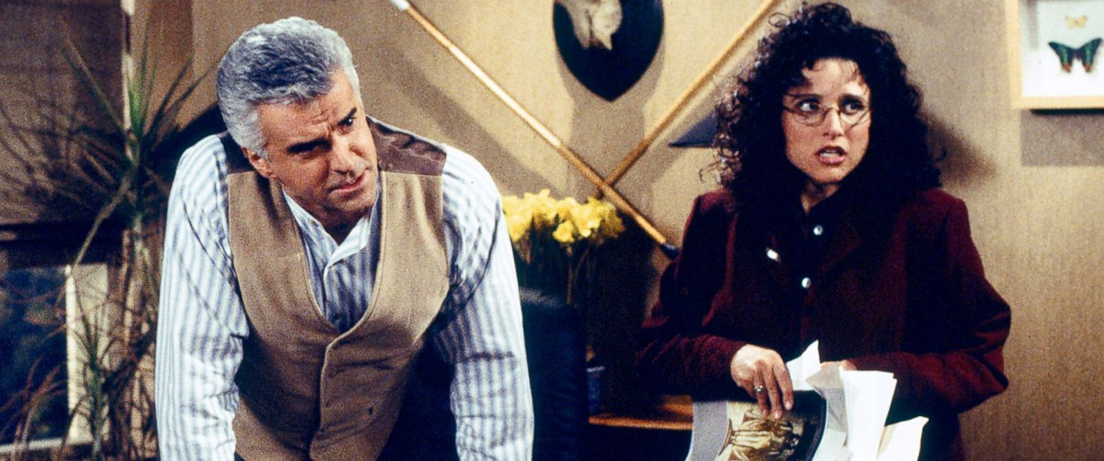 PHOTO: John OHurley as J. Peterman and Julia Louis-Dreyfus as Elaine Benes in a scene from Seinfeld.