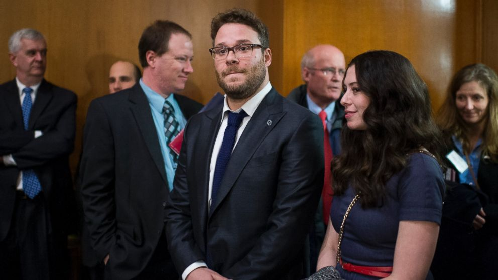 PHOTO: Seth Rogen and wife Lauren Miller stand in the back of the Appropriations Subcommittee on Labor, Health and Human Services, and Education, and Related Agen