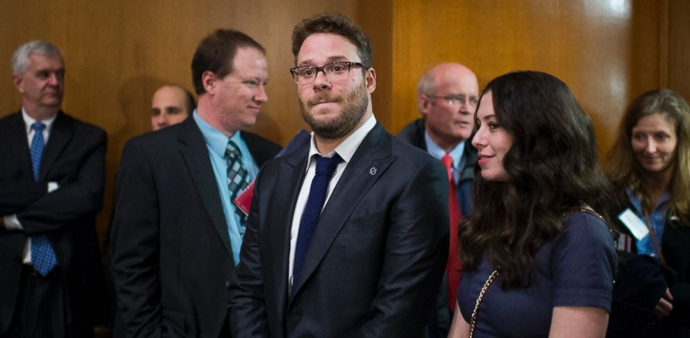 PHOTO: Seth Rogen and wife Lauren Miller stand in the back of the Appropriations Subcommittee on Labor, Health and Human Services, and Education, and Related Agencies hearing on Feb. 26, 2014.