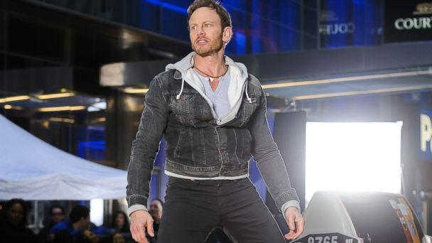 "PHOTO: Ian Ziering stands on a taxi on the set of ""Sharknado 2"" in New York, Feb. 19, 2014."