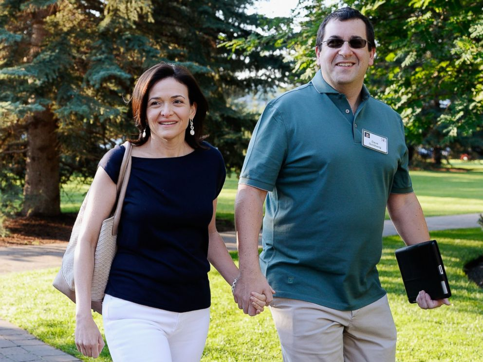 PHOTO: Sheryl Sandberg, COO of Facebook, and her husband David Goldberg arrive for the Allen & Co. annual conference at the Sun Valley Resort on July 10, 2013 in Sun Valley, Idaho.