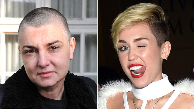 "PHOTO: Miley Cyrus' video for the song ""Wrecking Ball"" was inspired by Sinead O'Connor."