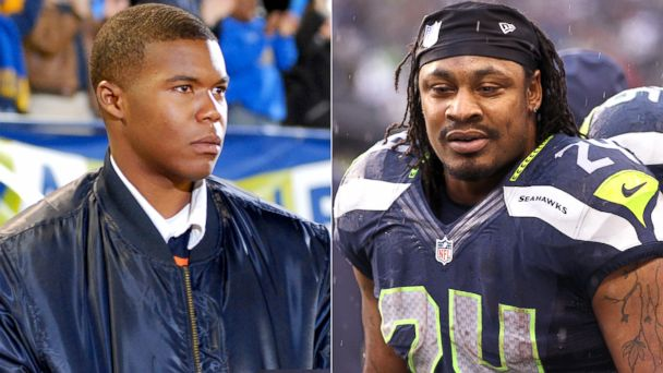 "PHOTO: Brian ""Smash"" Williams in Friday Night Lights and Seattle Seahawks running back, Marshawn Lynch."