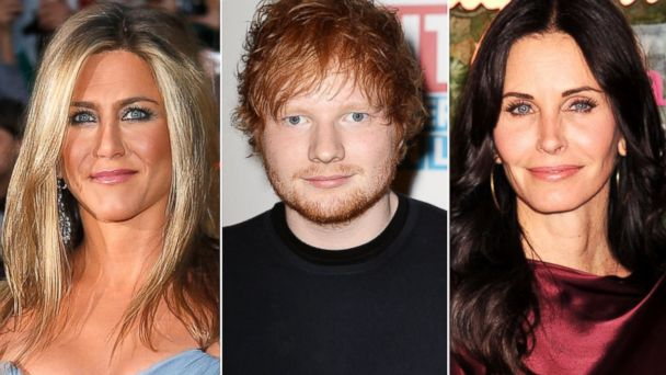 GTY split jennifer ed courtney friends sk 131129 16x9 608 Say What? Ed Sheeran Is Friends With Jennifer Aniston, Courteney Cox
