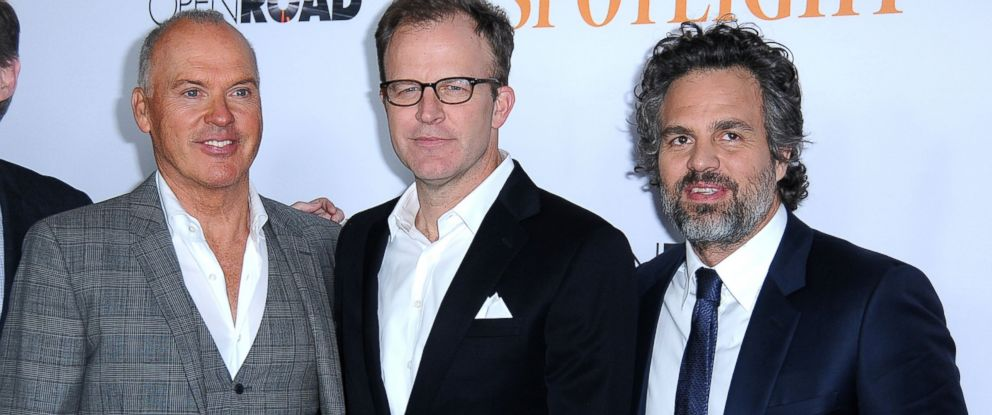 PHOTO:Actor Michael Keaton, director/co-writer Tom McCarthy and actor Mark Ruffalo attend the screening of Spotlight at the DGA Theater, Nov. 3, 2015, in Los Angeles.