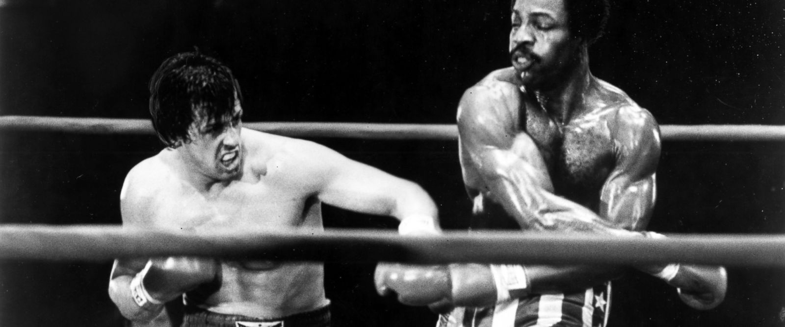 "PHOTO: Sylvester Stallone and Carl Weathers perform in a boxing scene from the movie ""Rocky"" directed by John G. Avildsen."