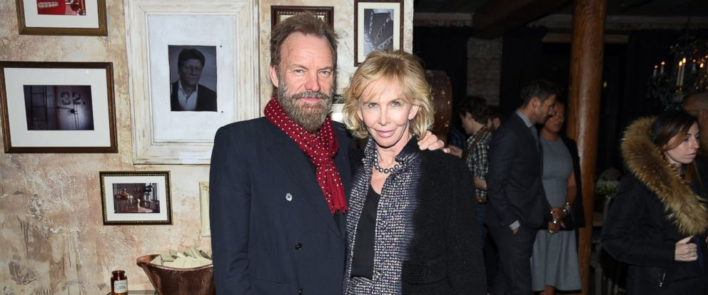 "PHOTO: Sting (L) and Trudie Styler attend a celebration hosted by Harvey Weinstein for Forest Whitaker in Eugene ONeills ""Hughie"" at Elyx House NYC, Feb. 18, 2016 in New York City."