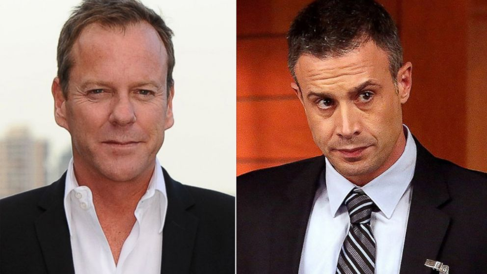 "PHOTO: Kiefer Sutherland, left, is pictured on May 6, 2014 in London. Freddie Prinze, Jr., right, is pictured in a March 2014 episode of ""Bones."""