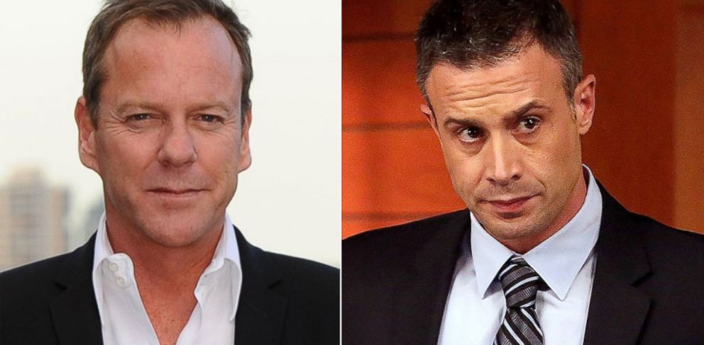 PHOTO: Kiefer Sutherland, left, is pictured on May 6, 2014 in London. Freddie Prinze, Jr., right, is pictured in a March 2014 episode of Bones.