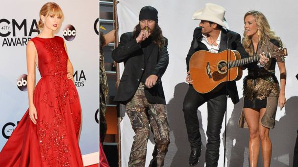 GTY taylor swift duck dynasty jef 131107 16x9 608 Top 5 CMA Award Moments: Mocking Miley, Sweet Speeches and More