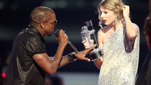 "PHOTO: Kanye West jumps onstage after Taylor Swift won the ""Best Female Video"" award during the 2009 MTV Video Music Awards at Radio City Music Hall in New York, Sept. 13, 2009."