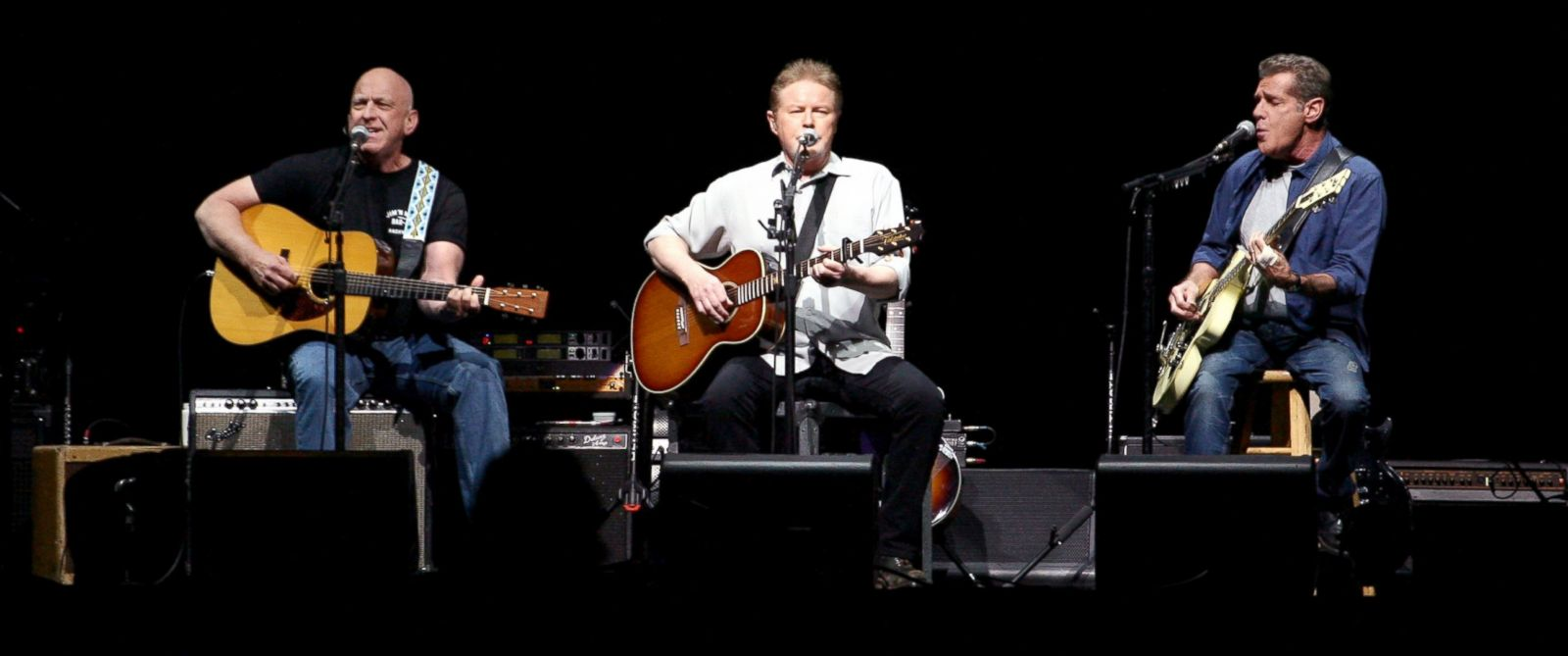 PHOTO: Musicians Bernie Leadon, Don Henley and Glenn Frey of The Eagles perform at the grand opening of the newly renovated Forum, Jan. 15, 2014, in Inglewood, Calif.