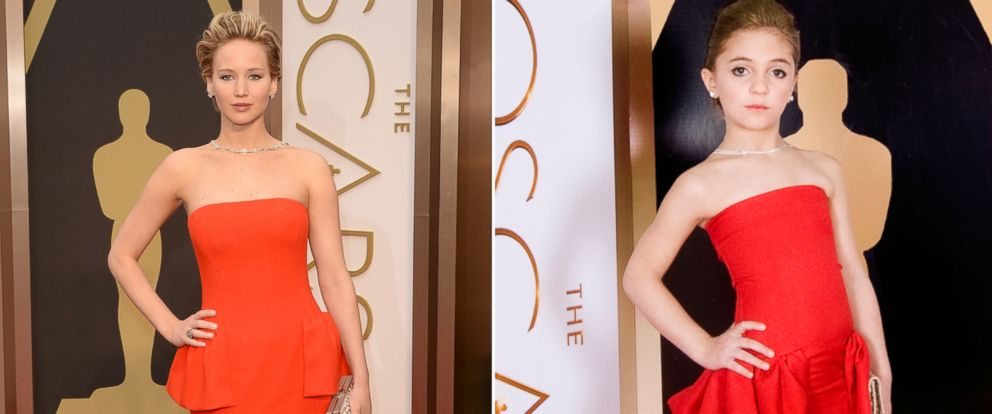 PHOTO: Jennifer Lawrence attends the 86th Annual Academy Awards, March 2, 2014 in Hollywood, Calif.   A model from Toddlewood.com recreated the red carpet moment with help from Creator/Photographer Tricia Messeroux and Designer Andrea Pitter.