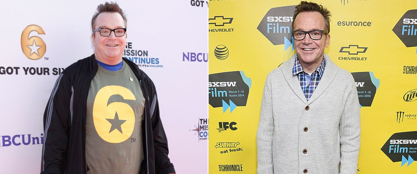 PHOTO: Left, Tom Arnold at an event, Nov. 9, 2012, and, right, at the South By Southwest Film Festival, March 9, 2014, in Austin, Texas.