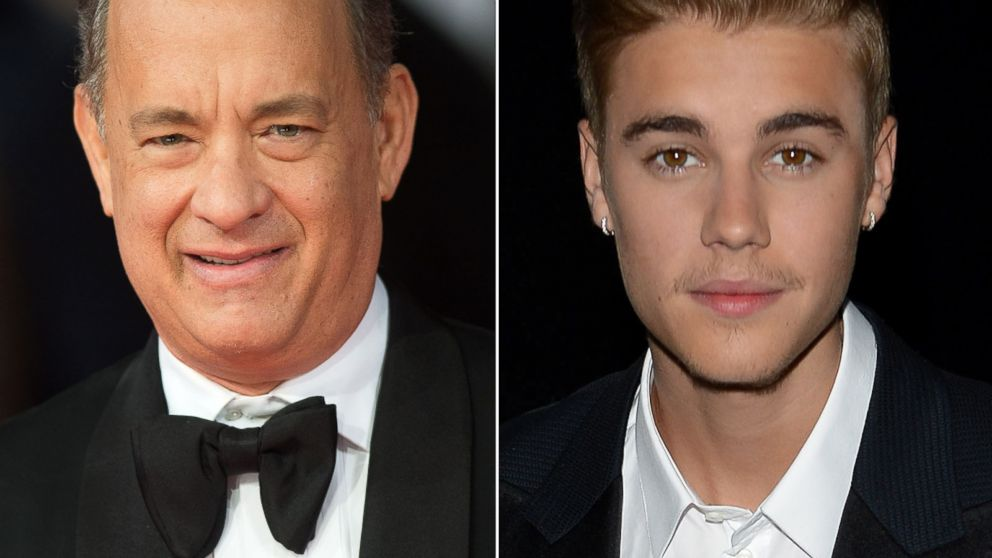 PHOTO: Left, Tom Hanks attends the EE British Academy Film Awards 2014 at The Royal Opera House in this Feb.16, 2014, file photo in London, England; right, Justin Bieber attends the Amber Lounge 2014 Gala on May 23, 2014 in Monte-Carlo, Monaco.