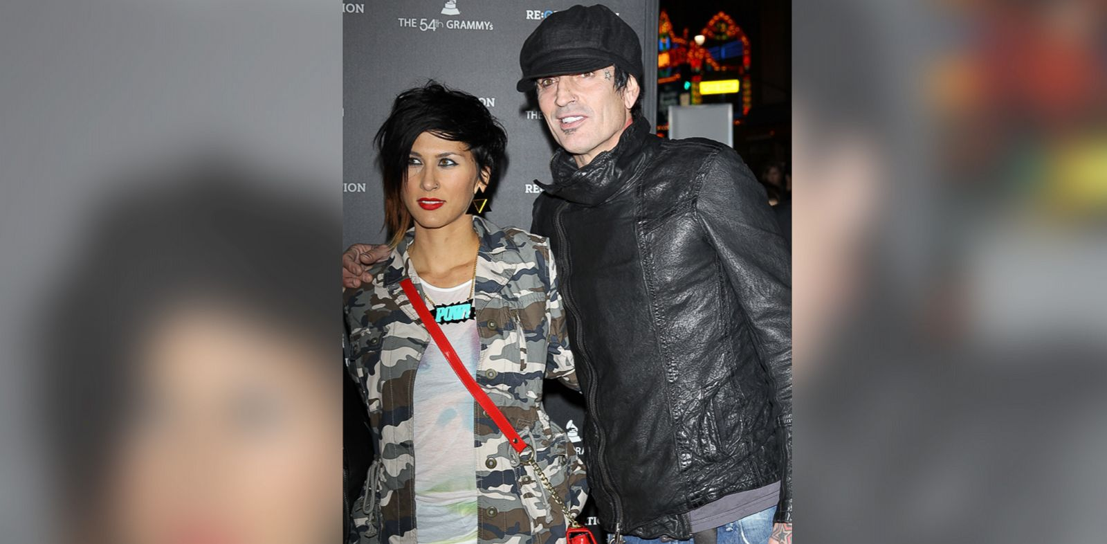 PHOTO: Tommy Lee, right, and girlfriend, Sofia Toufa arrive at the Los Angeles premiere of Re:Generation Music Project in this Feb. 9, 2012, file photo.