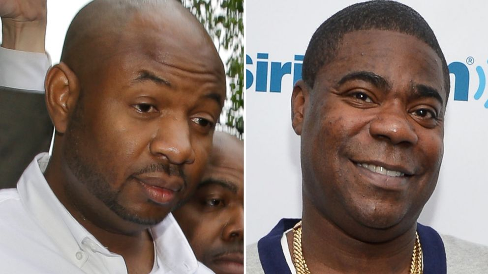 PHOTO: Left, Kevin Roper leaves a court appearance, June 11, 2014, in New Brunswick, N.J.; right, actor/comedian Tracy Morgan visits SiriusXM Studios in this May 5, 2014, file photo in New York City.