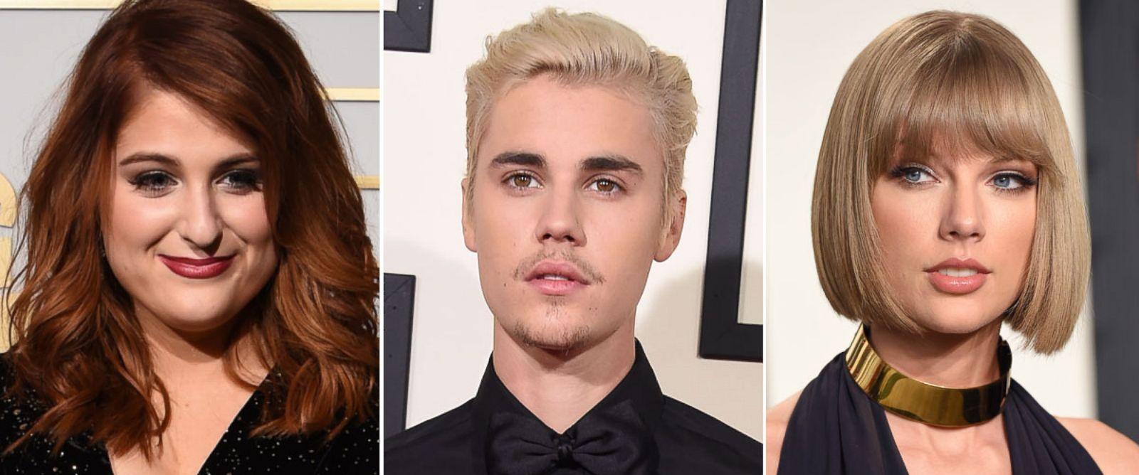 PHOTO: Meghan Trainor, Justin Bieber and Taylor Swift.