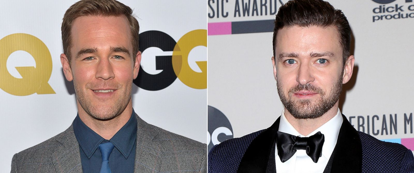 PHOTO: James Van Der Beek, left, is pictured on Nov. 12, 2013 in Los Angeles. Justin Timberlake, right, is pictured on Nov. 24, 2013 in Los Angeles.