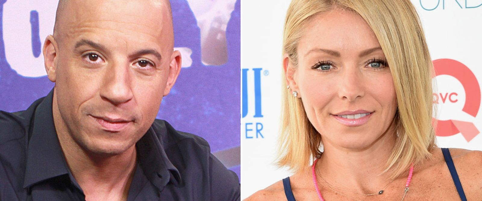PHOTO: From left, Vin Diesel in Los Angeles, and Kelly Ripa in New York