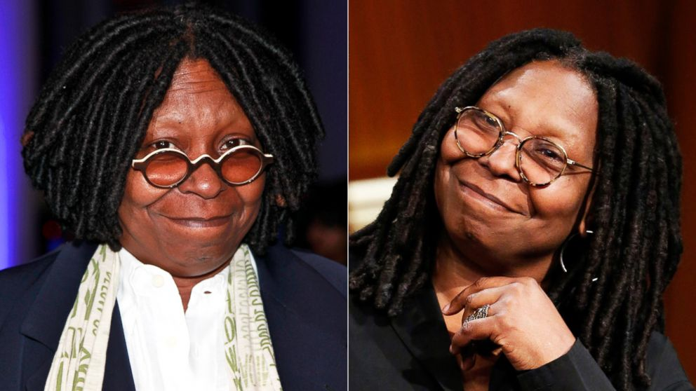 PHOTO: Left, actress Whoopi Goldberg attends DIFFA Presents a Tribute to David Rockwell at The IAC Building in this Nov. 9, 2011, file photo; right, comedian Whoopi Goldberg during an interview on April 3, 2014.