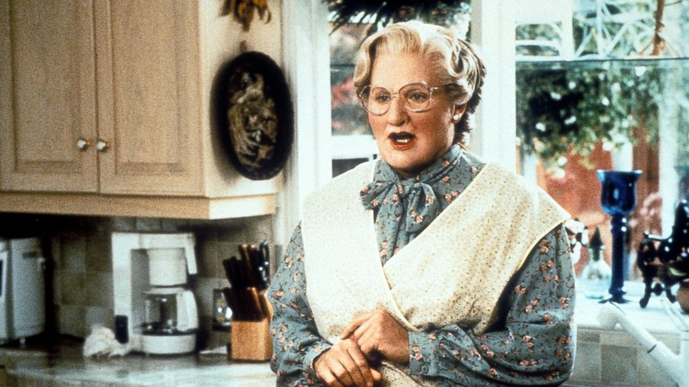 "PHOTO: Robin Williams in the kitchen in a scene from the film ""Mrs. Doubtfire,"" 1993."
