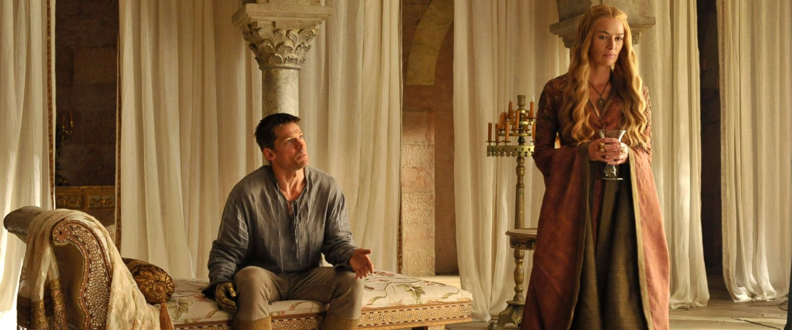 "PHOTO: Nikolaj Coster-Waldau and Lena Headey as Jamie and Cersei Lannister in season 4 of ""Game of Thrones."""