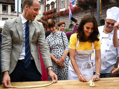 Duchess Kate twists up a pretzel in Germany