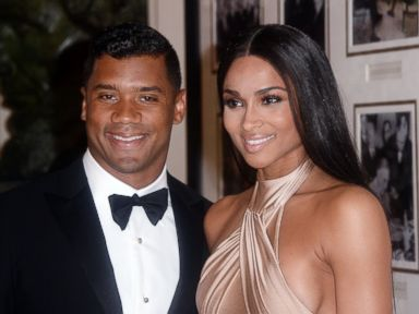PHOTO: Russell Wilson from the Seattle Seahawks and Ciara Harris arrive for the State dinner in honor of Japanese Prime Minister Shinzo Abe And Akie Abe April 28, 2015