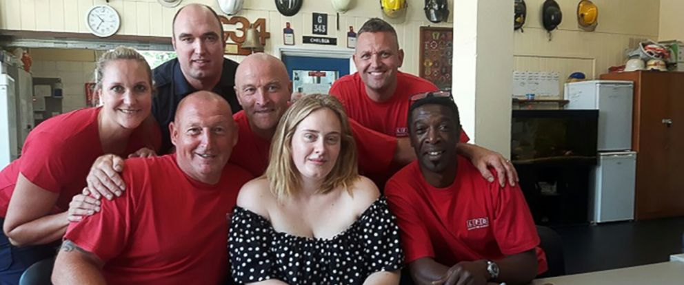 PHOTO: Adele joined the Red Watch firefighters at the Chelsea Fire Station in London, June 19, 2017.