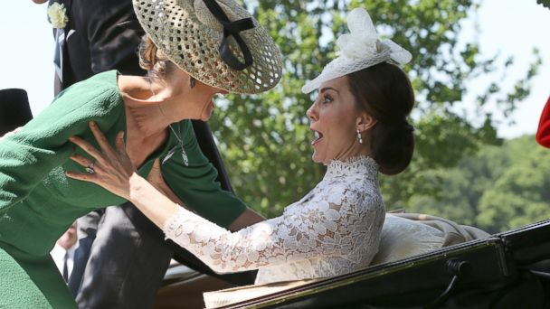 PHOTO: HRH Sophie, The Countess of Wessex, loses her balance and falls on to HRH Catherine, The Duchess of Cambridge, as the carriages pull away on the first day of Royal Ascot, June 20, 2017, in Ascot, England.2017