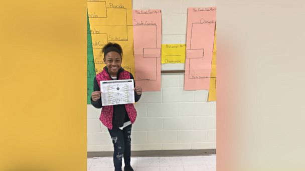 PHOTO: Sasha Anderson, 12, a seventh-grade student in Charlotte, North Carolina, correctly picked each Final Four team in the 2017 NCAA tournament in a March Madness bracket organized by her math teacher.