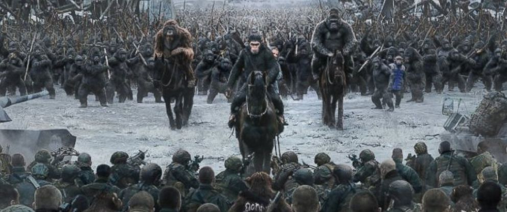 "PHOTO: Steve Zahn, Karin Konoval, Andy Serkis, Terry Notary, Michael Adamthwaite, and Amiah Miller in a scene from the movie, ""War of the Planet of the Apes,"" 2017."