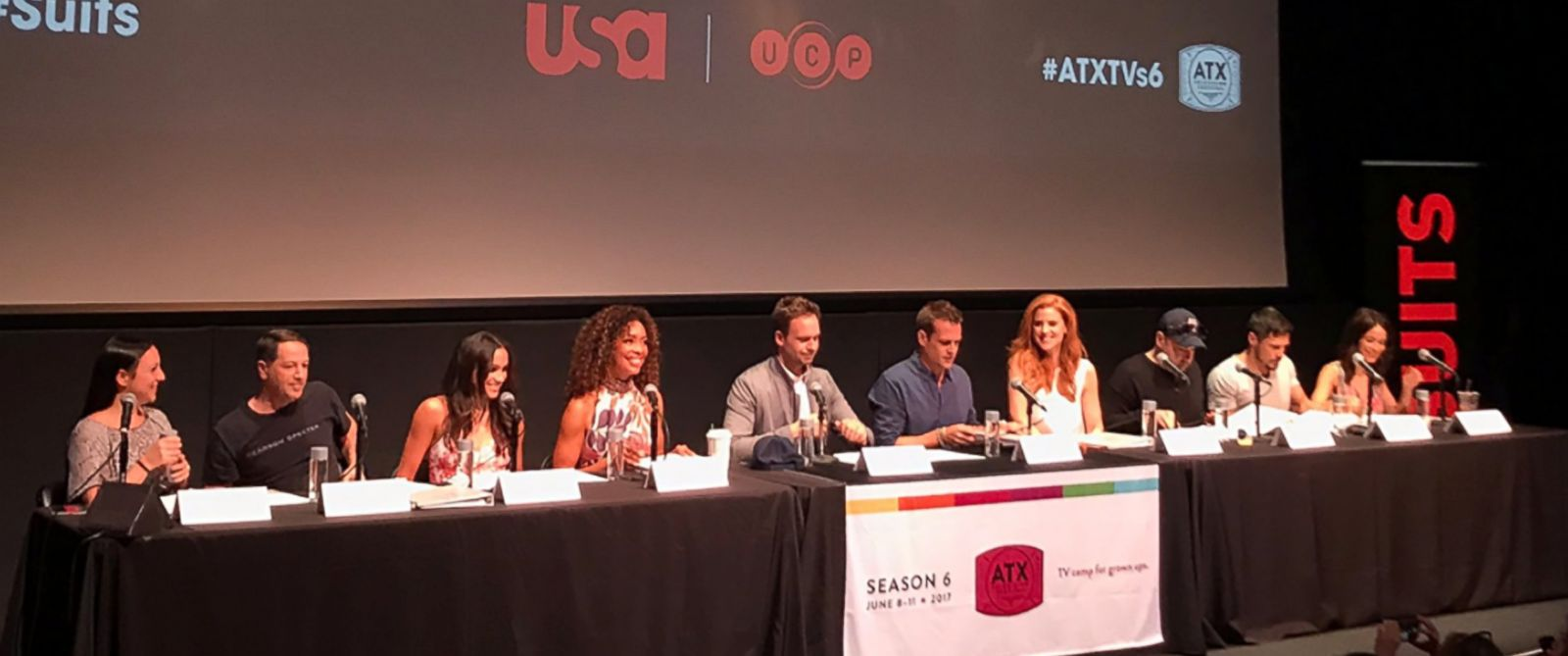 """PHOTO: This photo posted to the twitter handle of ATX TV Festival shows the cast of """"Suits"""" celebrating 100 episodes in Austin, TX, 11 June 2017."""