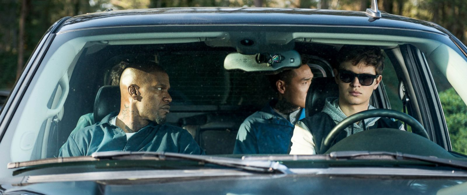 "PHOTO: Jamie Foxx, left, Ansel Elgort, Lanny Joon and Flea Balzary in TriStar Pictures' ""Baby Driver."""