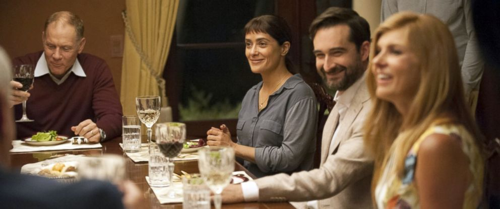 PHOTO: Salma Hayek, Connie Britton, Jay Duplass and David Warshoffsky in Beatriz at Dinner.