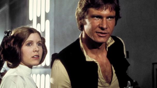 PHOTO: Mark Hamill, Carrie Fisher and Harrison Ford appear in a scene from the 1977 film,