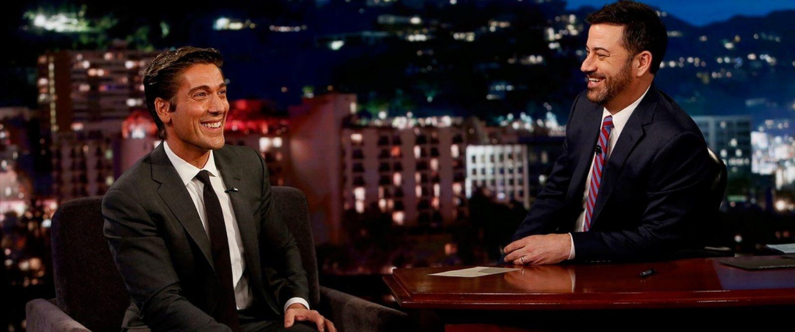 "PHOTO: David Muir is interviewed on ""Jimmy Kimmel Live"" on Feb. 15, 2017."