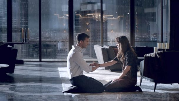 PHOTO: Jamie Dornan, as Christian Grey, and Dakota Johnson, as Anastasia Steele, in a scene from