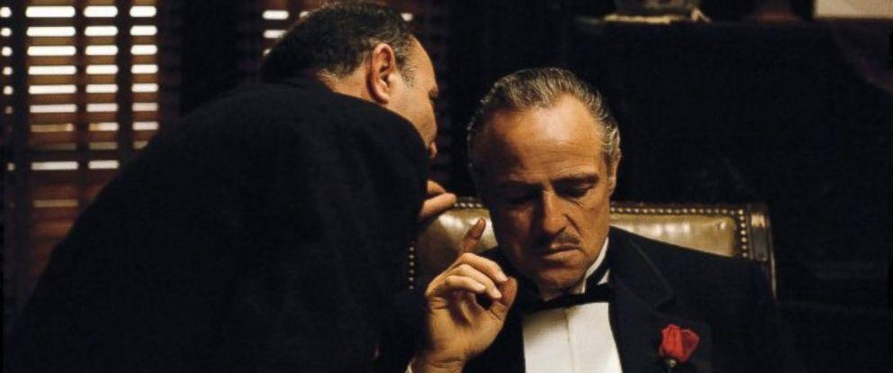 """PHOTO: Salvatore Corsitto, as Bonasera, and Marlon Brando, as Don Vito Corleone, in a scene from """"The Godfather."""""""