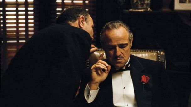 PHOTO: Salvatore Corsitto, as Bonasera, and Marlon Brando, as Don Vito Corleone, in a scene from