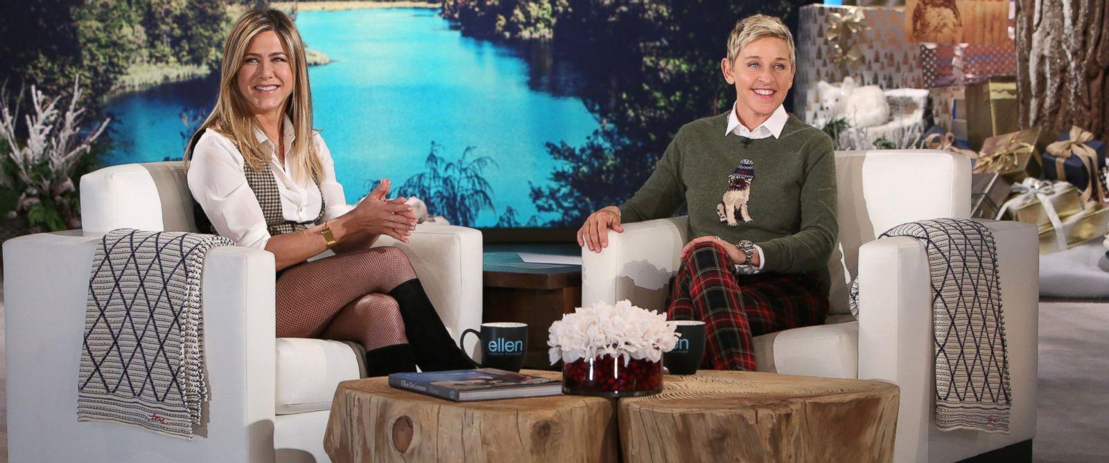 "PHOTO: Jennifer Aniston appears on ""The Ellen DeGeneres Show"" in Burbank, California."