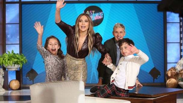 PHOTO: Jennifer Lopez and her twins, Emme and Max with Ellen Degeneres on