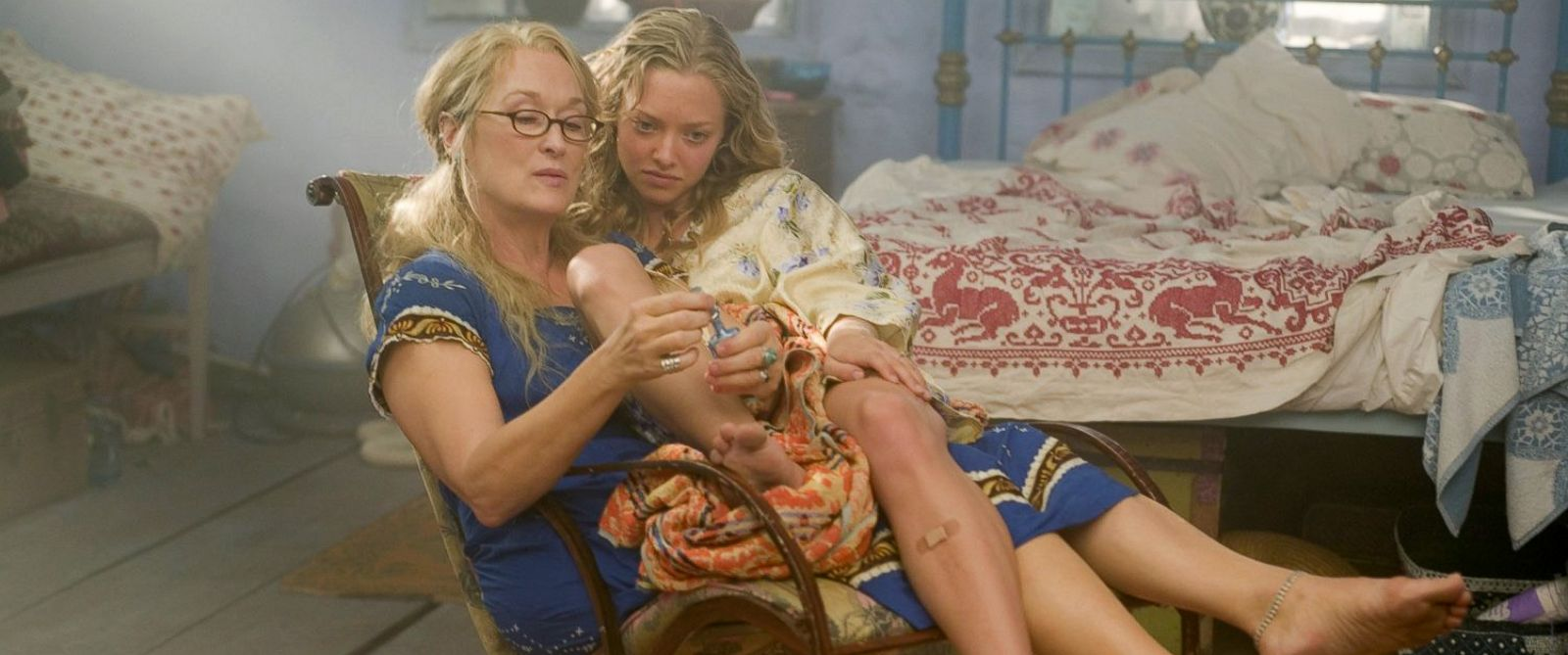 "PHOTO: Meryl Streep, as Donna, and Amanda Seyfried, as Sophie, in a scene from ""Mamma Mia!"""