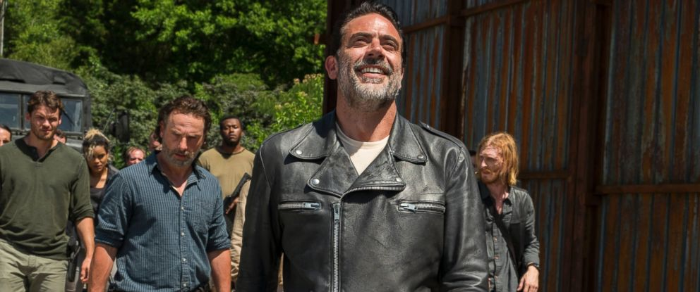 """PHOTO: Austin Nichols is seen here as Spencer Monroe, Andrew Lincoln as Rick Grimes and Jeffrey Dean Morgan as Negan in """"The Walking Dead."""""""
