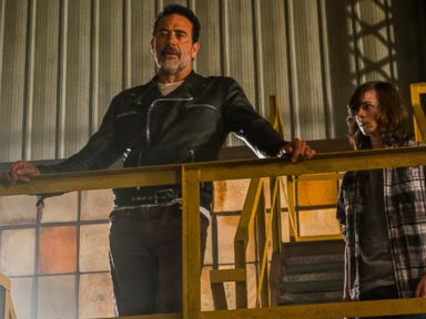 PHOTO: Jeffrey Dean Morgan is seen here as Negan and Chandler Riggs as Carl Grimes in The Walking Dead.