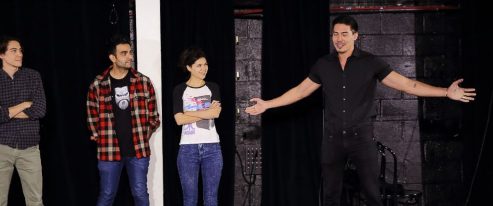 "PHOTO: Zac Oyama, Dhruv Uday Singh, Kathy Yamamoto, Lewis Tan performing at the UCB Theater for ""Asian AF"" in Los Angeles, May 12, 2017."