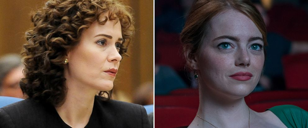 "PHOTO: Sarah Paulson, left, as Marcia Clark in a scene from ""The People Vs. O.J. Simpson: American Crime Story,"" and Emma Stone as Mia in a scene from ""La La Land."""