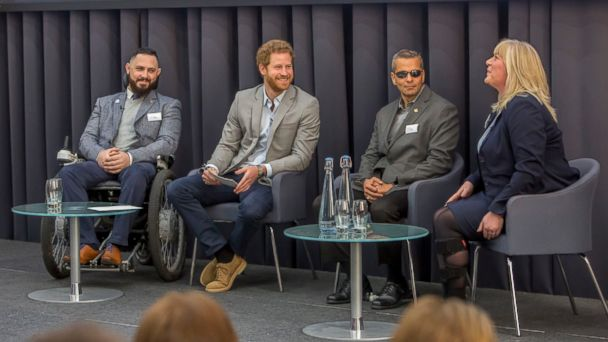 Prince Harry, 32, spoke with medical experts and military members at the Veterans' Mental Health Conference at King's Center for Military Health Research in London.