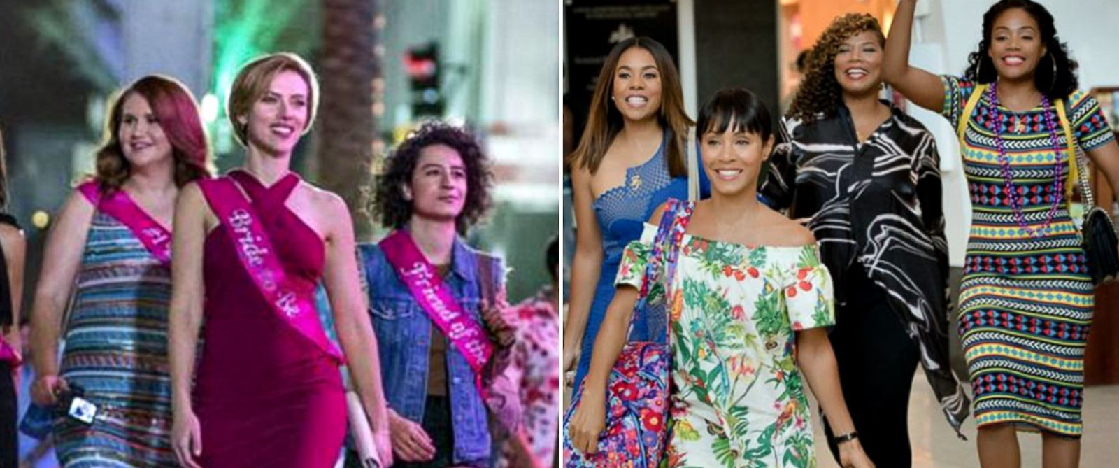 """PHOTO: The cast of """"Rough Night,"""" left, and the cast of """"Girls Trip."""""""
